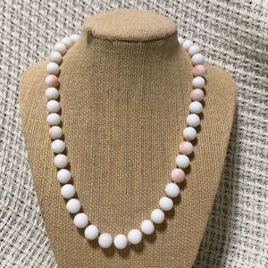 White and Pink Vintage Beaded Necklace